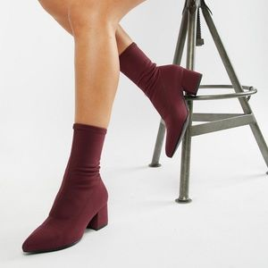 Vagabond Mya Stretch Sock Boot In Wine